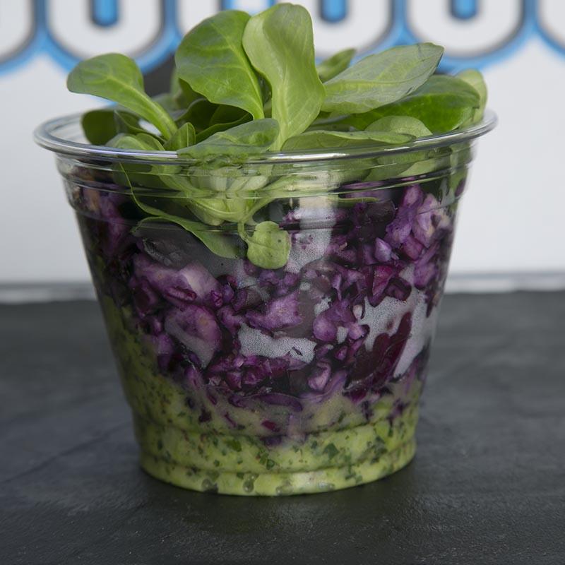 Salade de chou rouge et suprême d'asperges